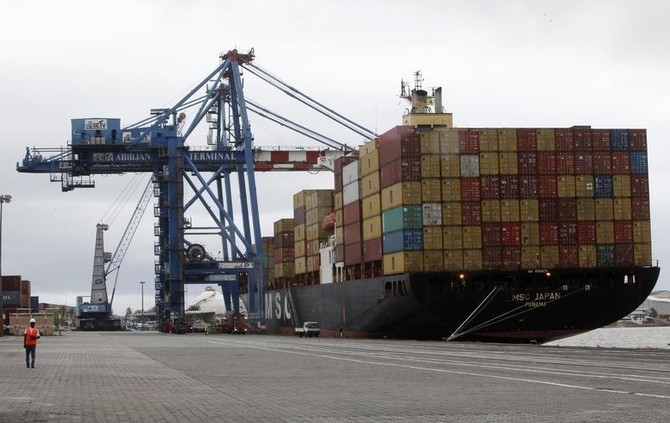 Shipping containers at Ivory Coast Port